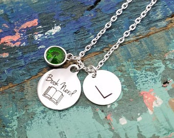 Book Nerd Necklace, Book Necklace, Initial Necklace, Book Lover Gift, Librarian Gift, Teacher Jewelry, Book Necklace, Book Nerd Pendant