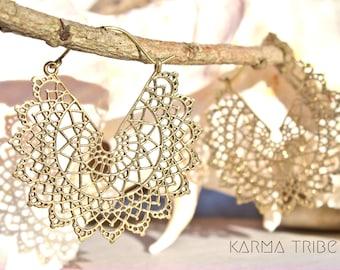 Mandala earrings. Big hoop earrings. Boho chic brass earrings. Tribal hoop earrings. Ethnic brass jewelry. Gypsy hoops earrings. Hippie chic
