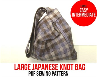 Large Japanese Knot Bag PDF Sewing Pattern - Shoulder Bag - Knitting Bag - Project Bag - Beginner level - Instant Download
