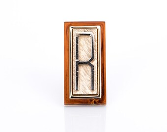 "Vintage Trifari Goldtone and Tortoiseshell Initial ""R"" Pin"