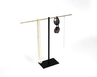 Large convertible Necklace Jewellery Stand with a brass, copper or stainless steel top bar