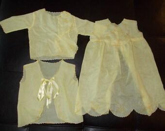 Vintage Baby Dress Slip Short Jacket Embroidery Yellow