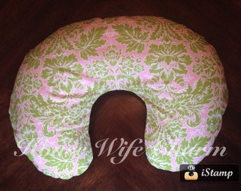 Pink Green Damask Boppy Slipcover- Ready to ship!