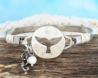 Whale Tail Bracelet, Whale Tail Charm Bracelet, Whale Tail Cut-out Bracelet, Adjustable Bracelet, Nautical Bracelet, Beach Bracelet