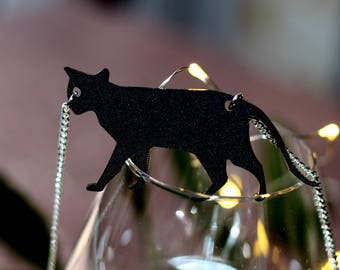 Sneeky Black Acrylic Cat Necklace on Silver Curb Chain - Show your Cat Love!