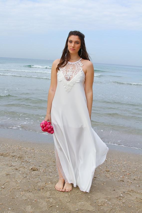 Bohemian Dress Boho Bridal Wedding Wedding Wedding Backless Boho Rustic Beach Dress Wedding Dress Dress Dress Dress Wedding Wedding EqaPBnO0
