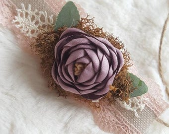 Newborn plum/lavender tieback, baby headband, flower girl headband, newborn tieback, newborn headband, purple tieback, newborn photo prop