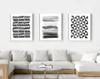 Abstract Watercolor Prints Set Of 3 Geometric Wall Art Stripes Triangles  Brushstrokes Dots Minimalist Art Black