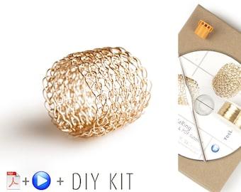Ring Pattern DIY Kit - Crochet Ring - Jewelry Making KIT - Crochet Pattern Kit - Lace ring Pattern - Wire Crochet Ring - Gift For Her