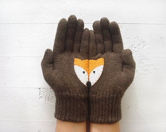 Fox Gloves, Animal Gift, Fox Gift, Wildlife Gloves, Gift Idea, Foxy Gift, Gift For Her, Anniversary Gift, Women Gloves, Sales Event, Animals