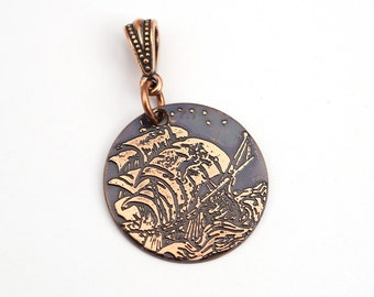 Copper lion ship pendant, small round flat etched sailing vessel jewelry, optional necklace, 25mm