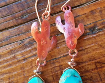 COPPER Cactus Earrings  - Turquoise Earrings - Saguaro Earrings  - Southwestern - Rustic Jewelry - Cowgirl Jewelry