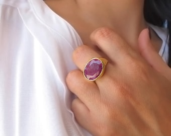 Natural African ruby ring, Statement ruby ring, 18k Gold Plated ruby ring, Ruby Jewelry, Marsala
