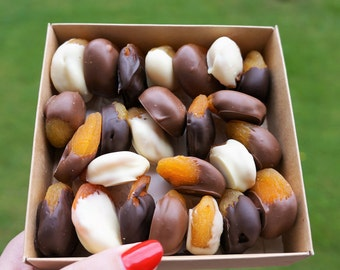 Chocolate Dipped Apricots with or without Nuts, 200g/7 oz bag
