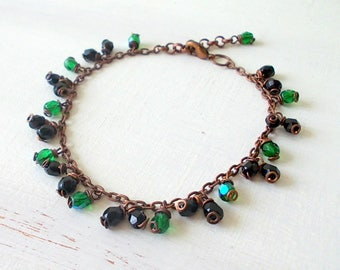 Bracelet with black and emerald green glass pendants, bracelet chain decorated with colored glass beads, gift for her, original