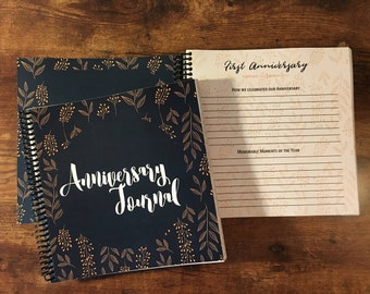 Wedding Anniversary Journal | Blue & Gold | Custom Cover Available