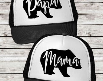 Mama Bear or Papa Bear Trucker Cap,  Papa Bear and Mama Bear Trucker Hat