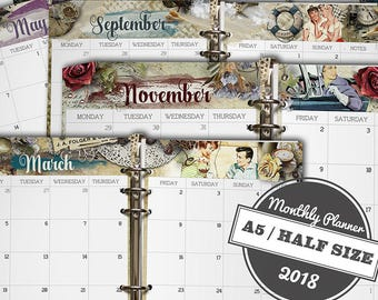 Monthly Planner, Printable Planner 2018, Planner Inserts, Monthly Planner Pages, Monthly Inserts, Planner Dividers, Printable, A5, Half Size