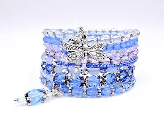 Blue wrap bracelet, memory wire wrap bracelet, blue beaded bracelet, beaded wrap bracelet, memory wire bracelet, crystal bracelet
