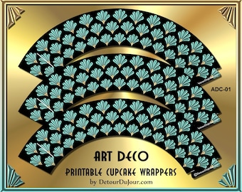 Art Deco Cupcake Wrappers Printable Bridal Showers, Birthdays, Office Parties, ADc-01