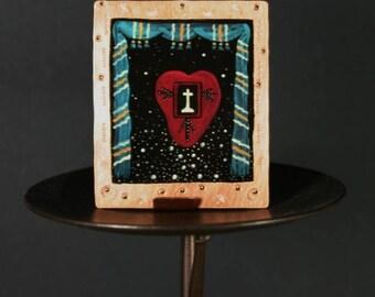 Sacred Heart Miniature Retablo Icon on Stamped Copper Original