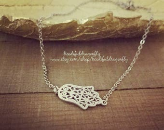 """Stainless Steel Hamsa Choker Necklace. 16"""" in length."""