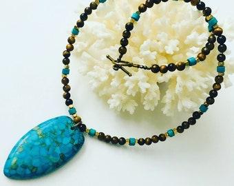 Tiger Eyes witj Mosaic Turquoise Necklace