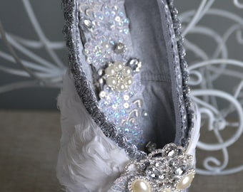 Winged Beauty- White Swan or Angel Decorated Pointe Shoe