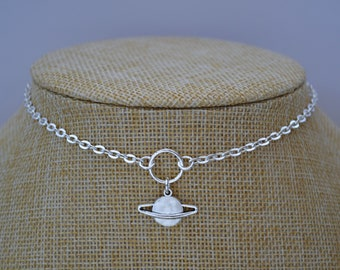 SATURN PLANET Necklace, Silver Plated O Ring Cable Chain, Choose Size, Handmade