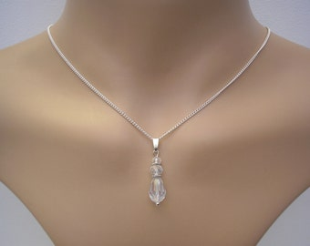 Veronica ~ Clear Crystal Teardrop necklace, Silver plated chain, Vintage style V91N