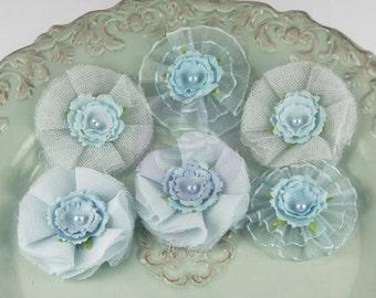 Prima Marketing Bronte Blooms Powder Blue Fabric Flower Embellishement Lavender