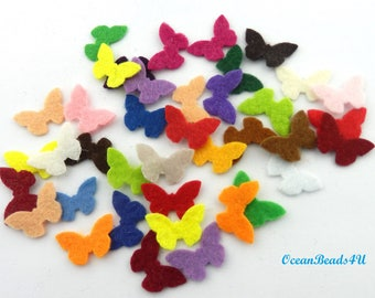 100 Mini Mix Felt Butterflies ,Mini Mix Felt Butterflies , Coloured Felt Butterfly