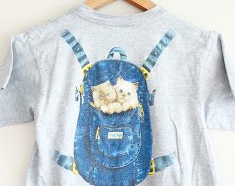 Reserved for lovely Renee- Vintage Cat Tshirt~ Kitten Shirt~ Kitten BackPack~ Meow Cat shirt~ Animal shirt~ funny shirt~ I love cats~