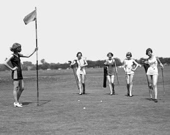 "1926 Bathing Beauties Golfing Vintage Photograph 8.5"" x 11"" Reprint"