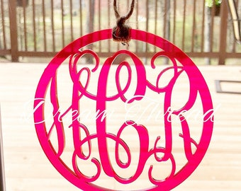 Acrylic Monogram Rear view Car Mirror Tag, car monogram, acrylic monogram (made to order)