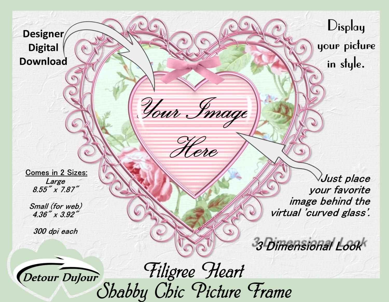 Herz Clipart Rahmen Herz Shabby Chic Clipart digitale