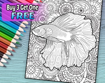 Beautiful Betta Fish - Adult Coloring Book Page - Printable Instant Download