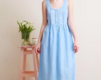 Linen Night Dress/ Vintage Inspired Hand Embroidered Linen Night Gown For Woman/ Linen Sleeveles Dress/ Linen sleepwear Women/ Flax Gown