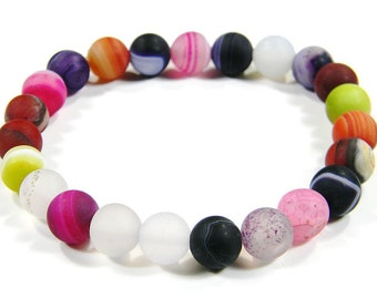 Agate Frosted Round Beaded Bracelet