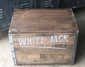 """Wooden Crate cargo Crate Table Storage Box """"Lincoln"""" Steel"""