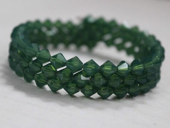Green Crystal Bracelet, Thick Green Bracelet, Formal Jewelry, Green Bling, Sparkly Bracelet