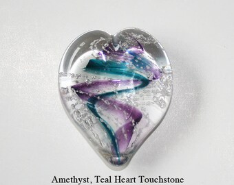 Memorial Glass Memento Heart Touchstone, Cremation Ashes, Pet