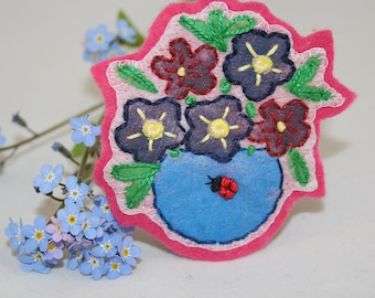 Ladybird Brooch - blue flower bowl  Embroidered and painted by Lynwoodcrafts