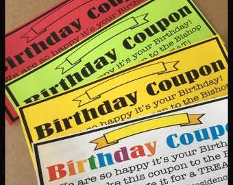 Digital Birthday Coupon Primary LDS Sharing Time Digital Download Pdf file Church Present Gift Treat