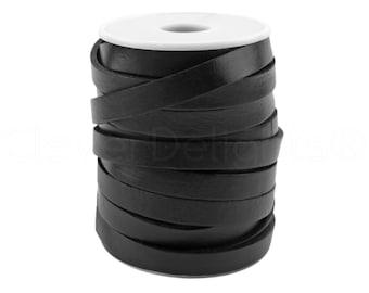 """10 Yds - 3/8"""" Black Genuine Leather Strap - Premium Quality Genuine Leather - 3/8 Inch (10mm) Flat Leather Strip - 5-6 Ounce Weight"""