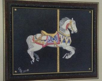 Magnificent royal white stallion carousel horse