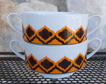 Vintage Mid Century Melitta China Soup Dessert Bowls Made in Germany 1970's