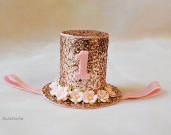girls mini top hat, girls pink hat, glitter party hat, tea party hat, flower girl hat, cake smash girl, baby girl top hat