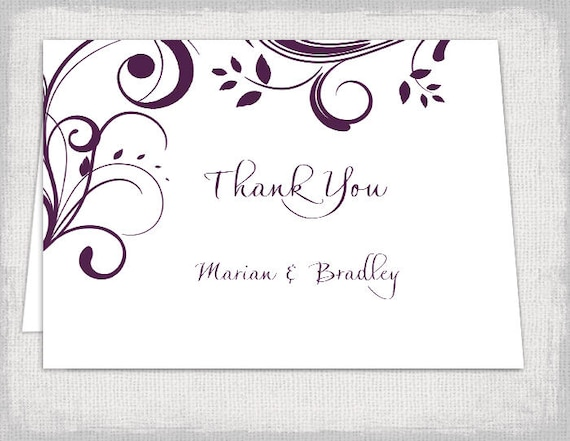 Thank you cards template Printable Plum Scroll