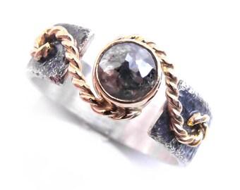 Rose cut diamond in 14k gold, silver gold diamond ring, original diamond engagement ring, gray ring, handmade diamond jewelry, textured band